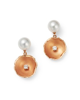 OWN YOUR STORY - 14K Rose Gold The World Is Your Oyster Pearl & Diamond Drop Earrings