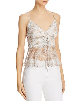 The East Order - Harlie Floral Lace-Up Camisole Top
