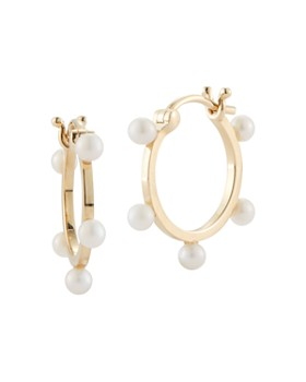 MATEO - 14K Yellow Gold Small Pearl Dots Hoop Earrings