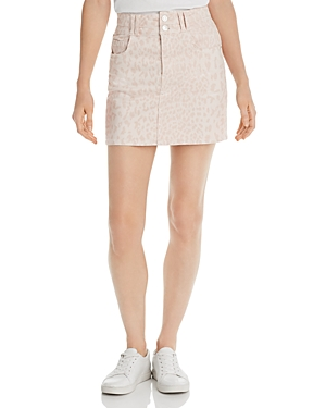 Current Elliott Skirts CURRENT/ELLIOTT THE FLUTE LEOPARD PRINT DENIM MINI SKIRT