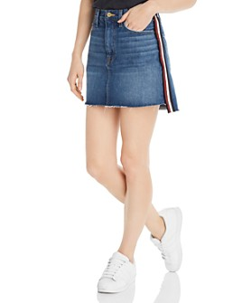 FRAME - Le Mini Raw-Edge Stagger Denim Skirt
