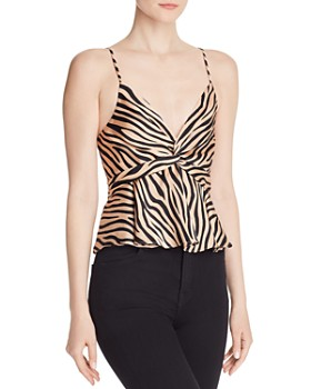 AQUA - Twist-Front Zebra Print Top - 100% Exclusive