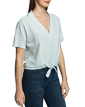 1.state T-shirts STRIPED TIE-FRONT SHIRT
