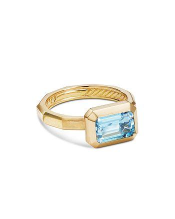 David Yurman - 18K Yellow Gold Novella Ring with Blue Topaz