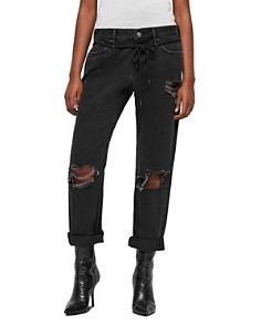 ALLSAINTS - Alana Distressed Cropped Boyfriend Jeans in Washed Black