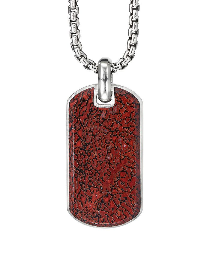 David Yurman - Sterling Silver Exotic Stone Streamline® Tag with Red Agate