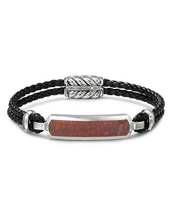 David Yurman - Sterling Silver & Leather Exotic Stone Bar Station Bracelet with Red Agate