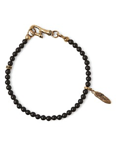 John Varvatos Collection - Brass Mercer Onyx Beaded Feather Charm Bracelet