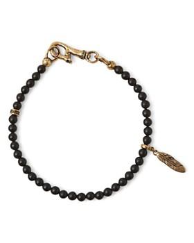 John Varvatos Collection - Brass Mercer Onyx Beaded Feather Charm Bracelet