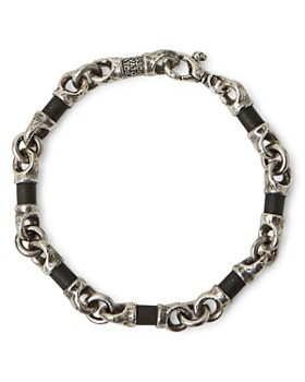 John Varvatos Collection - Sterling Silver Artisan Metals Obsidian Link Bracelet