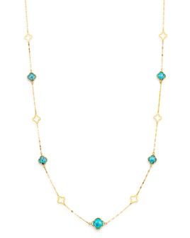 "Bloomingdale's - Turquoise Long Clover Necklace in 14K Yellow Gold, 36"" - 100% Exclusive"