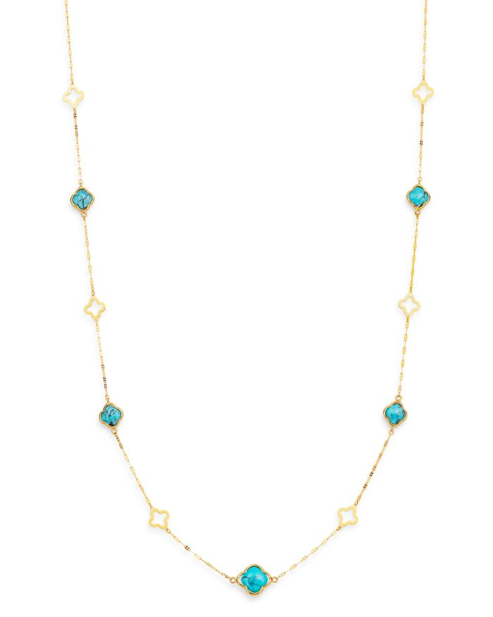 """Bloomingdale's Turquoise Long Clover Necklace in 14K Yellow Gold, 36"""" - 100% Exclusive  