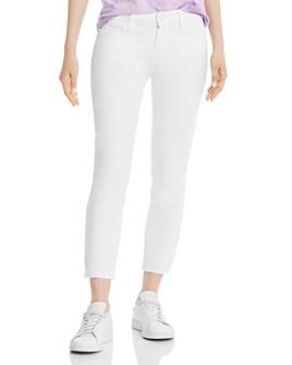 PAIGE - Skyline Crop Skinny Raw-Hem Jeans in Lived In Crisp White