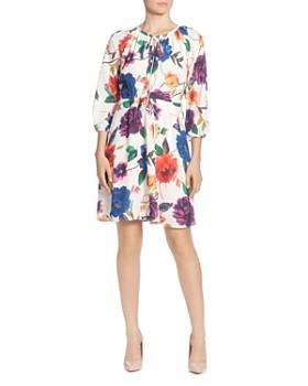 T Tahari - Floral-Print Tie-Neck Dress