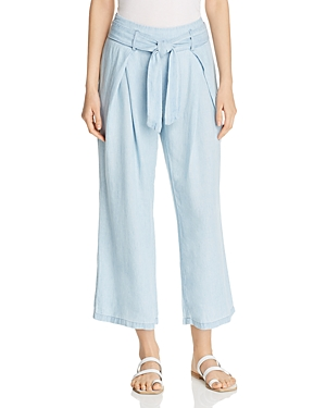 Billy T Chambray Wide-Leg Cropped Pants