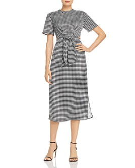 C/MEO Collective - Provided Tie-Front Houndstooth Midi Dress
