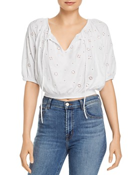 FRENCH CONNECTION - Santoline Eyelet-Pattern Cropped Top