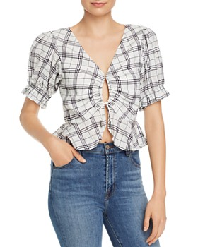 Finders Keepers - Sadie Plaid Drawstring-Detail Blouse