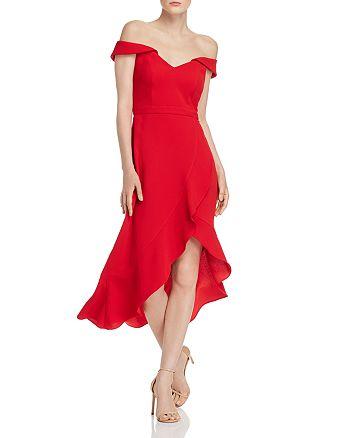AQUA - Off-the-Shoulder Crepe Midi Dress - 100% Exclusive