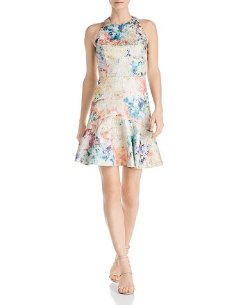 Aidan by Aidan Mattox - Printed Jacquard Party Dress