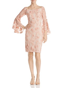 Avery G - Floral-Embellished Lace Dress