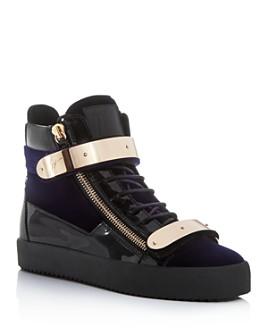 Giuseppe Zanotti - Men's Band Mixed Media High-Top Sneakers