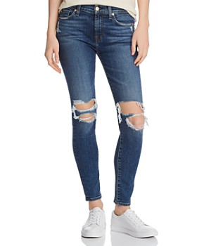 7 For All Mankind - Ankle Skinny Jeans in Blue Monday
