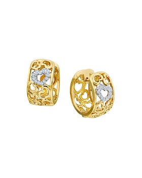 Gumuchian - 18K Yellow Gold Tiny Hearts Diamond Huggie Hoop Earrings
