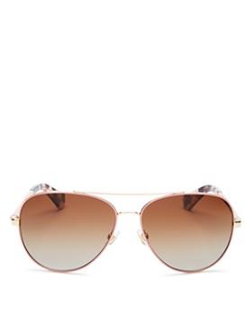 kate spade new york - Women's Avaline Brow Bar Aviator Sunglasses, 58mm