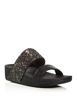 FitFlop - Women's Rose Glitter Platform Wedge Slide Sandals