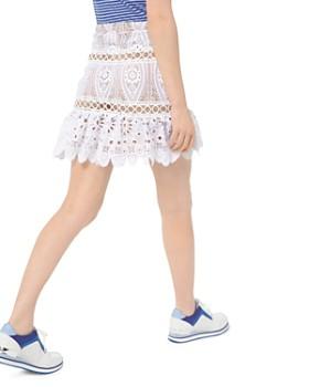 MICHAEL Michael Kors - Ring Stitched-Inset Lace Mini Skirt
