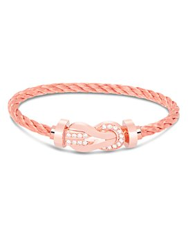 Fred - 18K Rose Gold Buckle 8°0 Large Half-Diamond Buckle & Cable Bracelet