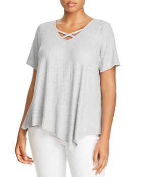 Status by Chenault Plus - Ribbed Crisscross-Neck Tee