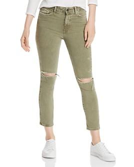PAIGE - Hoxton Slim Crop Destructed Jeans in Vintage Green Springs