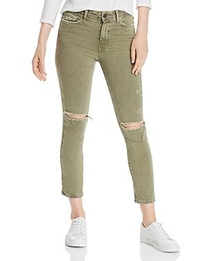 Paige Hoxton Slim Crop Destructed Jeans in Vintage Green Springs