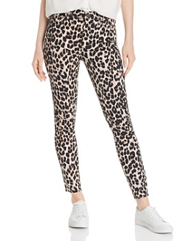 PAIGE - Hoxton Raw-Hem Ankle Jeans in Pink Leopard