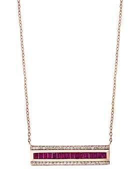 "Bloomingdale's - Ruby & Diamond Bar Necklace in 14K Rose Gold, 18"" - 100% Exclusive"