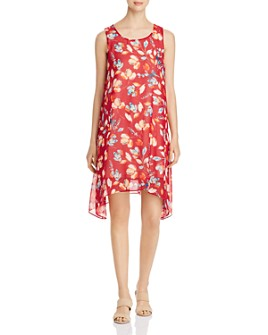 Donna Karan - Floral Sharkbite-Hem Shift Dress