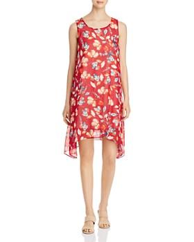 Donna Karan - Floral Sharkbite-Hem Shift Dress