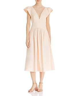 Rebecca Taylor - Plunging Puff-Sleeve Dress