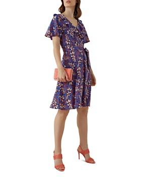 4921617d7c8 KAREN MILLEN - Ruffled Botanical Silk Dress ...