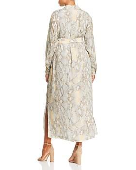 Lafayette 148 New York Plus - Snake-Print Maxi Shirt Dress
