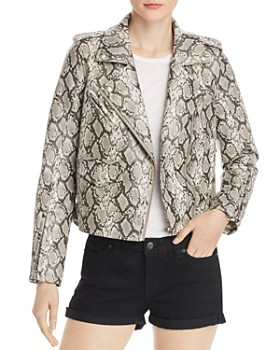 BLANKNYC - Snake Print Faux-Leather Moto Jacket