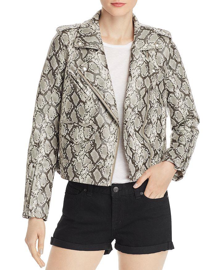 BLANKNYC - Snake Print Faux-Leather Moto Jacket