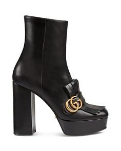 Gucci - Women's Marmont Fringe Platform Ankle Boots