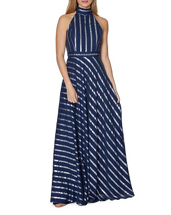 Laundry by Shelli Segal - Metallic Stripe Gown