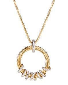 "David Yurman - 18K Yellow Gold Helena Round Pendant Necklace with Diamonds, 18"""