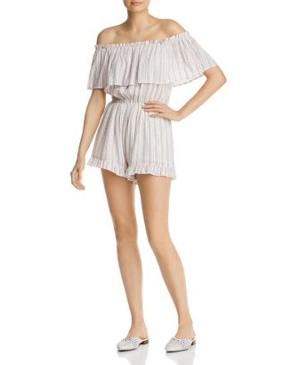 Ruffled Off The Shoulder Romper   100 Percents Exclusive by Aqua