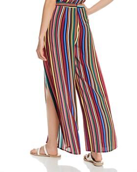 AQUA - Rainbow-Stripe Cutaway Wide-Leg Pants - 100% Exclusives