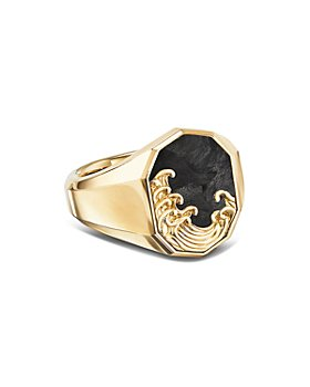 David Yurman - Waves Signet Ring in 18K Yellow Gold with Forged Carbon